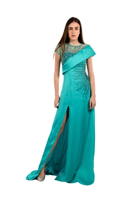 Khwaab Sweetheart with Bodice Sea-Green Color Satin and Georgette with Net Sequins Evening Gown