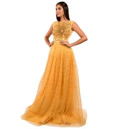 Khwaab Round Neck Yellow Net Embroidery Evening Ball Gown