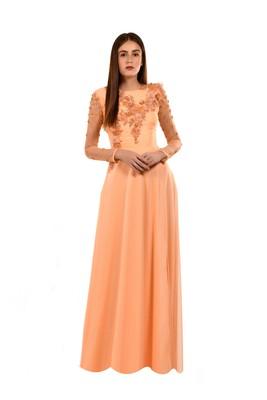Khwaab Round Neck Orange Color Creta Sequins Evening Gown