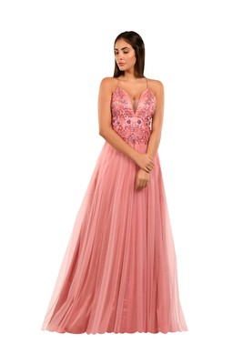 Khwaab Sweetheart Pink Color Net Prom Gown with Sequins Pipe Handwork