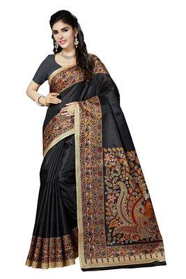 Black printed bhagalpuri cotton saree with blouse