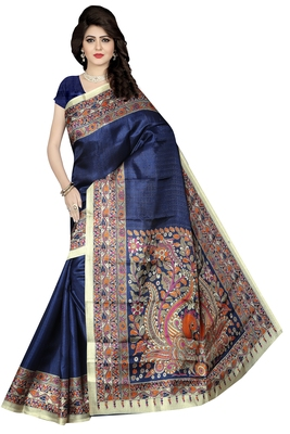 Blue printed bhagalpuri cotton saree with blouse