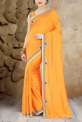 Mustard hand work silk saree with blouse