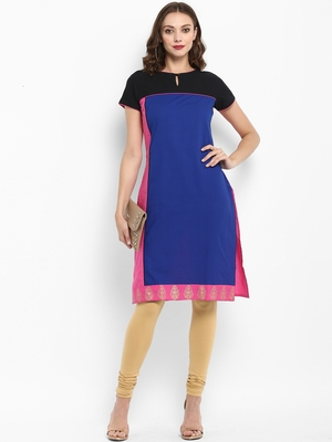 Royal-blue plain cotton kurtas-and-kurtis