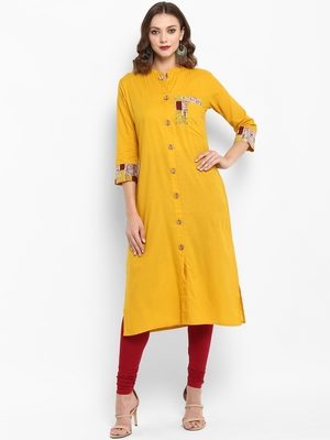 Mustard plain cotton kurtas-and-kurtis