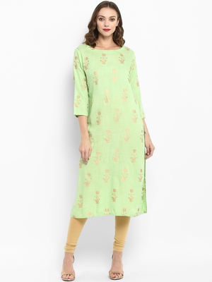 Lime printed rayon kurtas-and-kurtis
