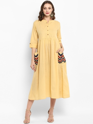 Cream plain cotton kurtas-and-kurtis
