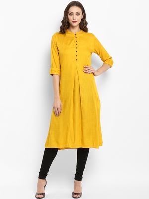 Mustard plain rayon kurtas-and-kurtis