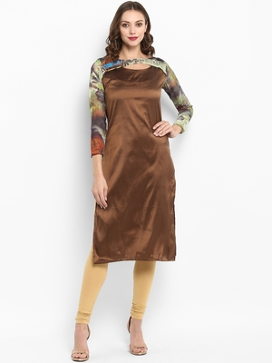 Brown printed silk silk-kurtis