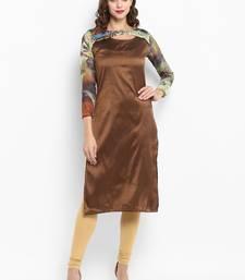 Brown printed silk silk-kurtis