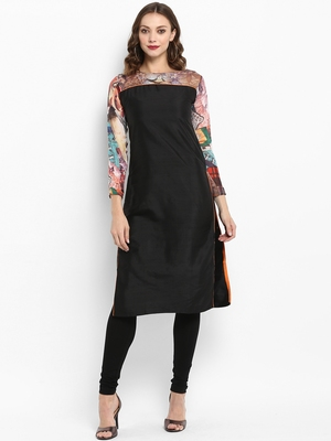 Black printed silk silk-kurtis