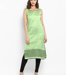 Green printed silk silk-kurtis