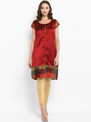 Red plain silk silk-kurtis