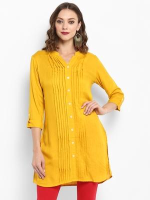 Mustard plain rayon short-kurtis