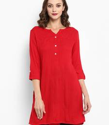 Red plain rayon short-kurtis