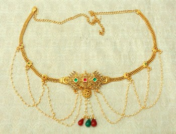 Multicolour kundan pearl waist belly hip chain belt kamarband keychain ethnic wedding jewellery