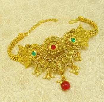Multicolour kundan adjustable bajuband armlet ethnic wedding jewellery