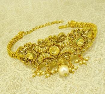Golden lct kundan adjustable bajuband armlet ethnic wedding jewellery