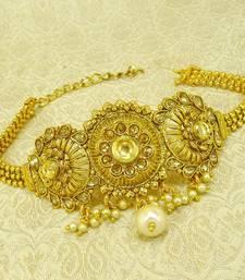 Buy Golden lct kundan adjustable bajuband armlet ethnic wedding jewellery bajuband online