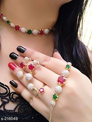 American Diamond Stylish Latest Design Red-Green Color Combo of Necklace Set with Earring, Ring and Bracelet