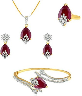 American Diamond Combo of Pendant with Earrings, Bracelet and Ring for Women
