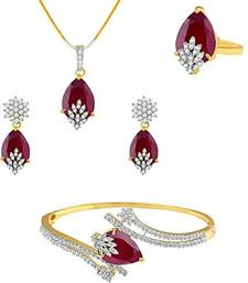 American Diamond Combo of Pendant with Earrings, Bracelet and Ring for Women jewellery-combo
