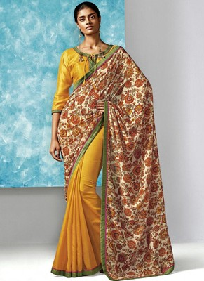 Yellow Printed Work Liva And Silk saree with blouse