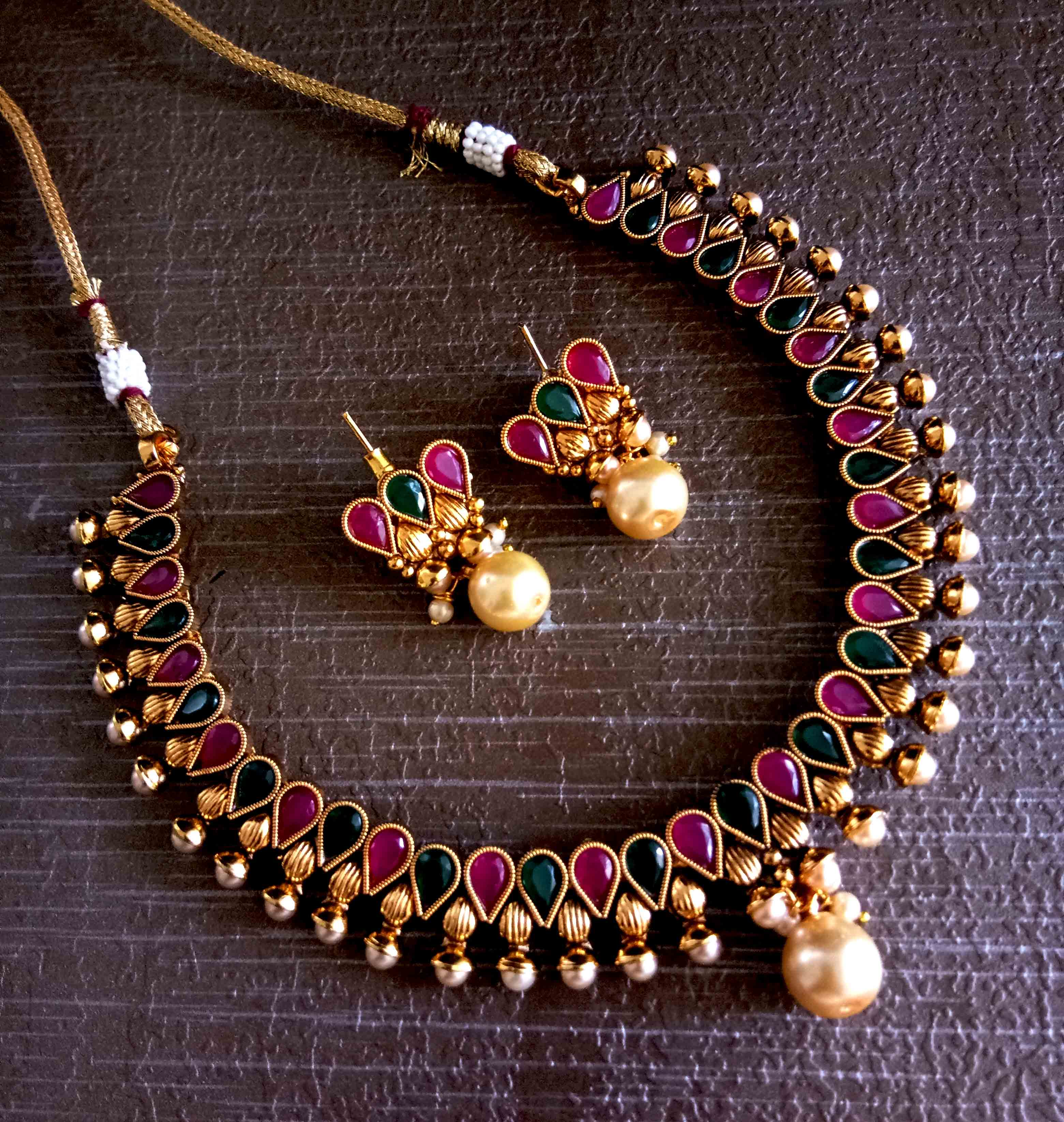 d59d5c09b Designer Bollywood Inspired Pink & Green Kundan Jewellery Necklace Set With  Earrings For Women - Satyam Jewellery NX - 2665024