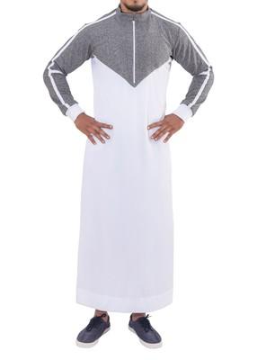 White cotton brazen grey thobe