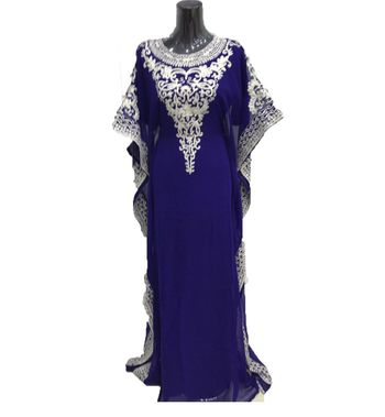 Royal blue georgette embriodery islamic kaftans