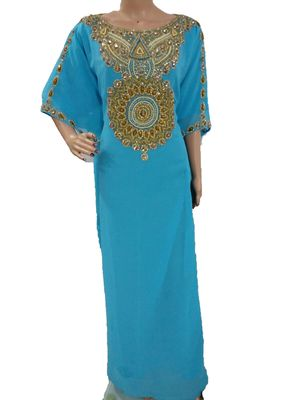 Blue georgette embriodery islamic kaftans