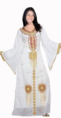 White georgette embroidery islamic kaftans