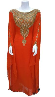Orange georgette embroidery islamic kaftans