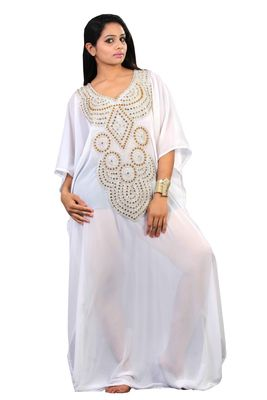 Off White georgette embroidery islamic kaftans