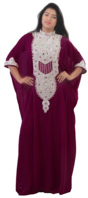 Magenta georgette embriodery islamic kaftans