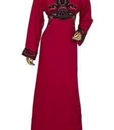 Magenta Embroidered Beads Embellished Traditional Chiffon Kaftan Gown