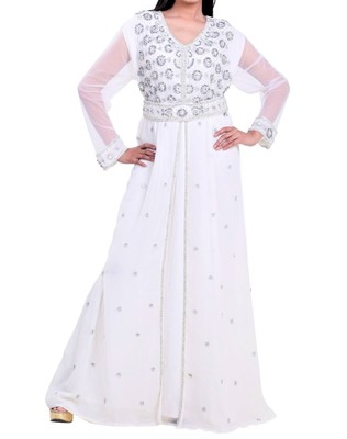 white georgette farasha with zari and stone work farasha