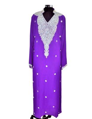 purple georgette farasha with zari and stone work farasha
