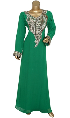 Green Embroidered Crystal & Beads Embellished Traditional Chiffon Kaftan Gown
