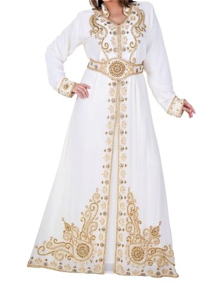white georgette kaftan with zari and stone work islamic-kaftan