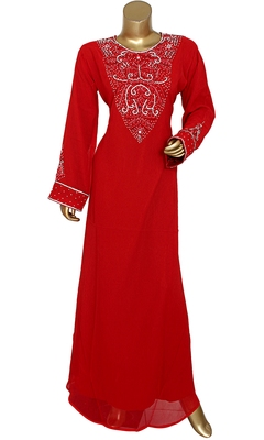 Maroon Embroidered Crystal Embellished Traditional Chiffon Kaftan Gown
