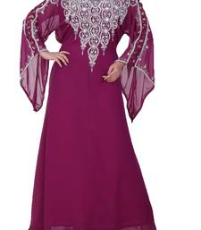 magenta georgette farasha with zari and stone work farasha