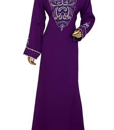 Purple Embroidered Crystal Embellished Traditional Chiffon Kaftan Gown