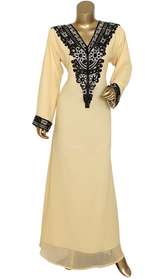Beige Embroidered Crystal & Beads Embellished Traditional Chiffon Kaftan Gown