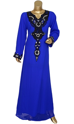 Royal Blue Embroidered Crystal & Beads Embellished Traditional Chiffon Kaftan Gown