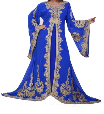 blue georgette kaftan with zari and stone work islamic-kaftan