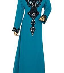 Teal Green Embroidered Crystal & Beads Embellished Traditional Chiffon Kaftan Gown