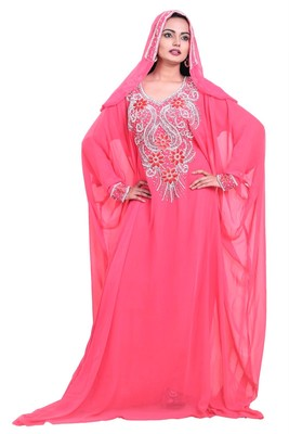 pink georgette farasha with zari and stone work farasha