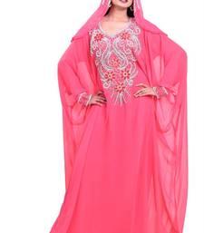 pink georgette farasha with zari and stone work farasha