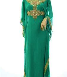 green georgette farasha with zari and stone work farasha